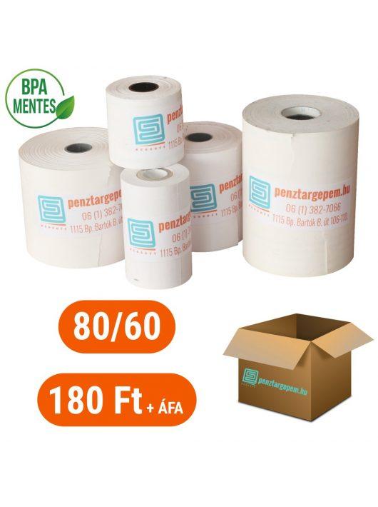 Pénztárgépszalag 80/60/12 Thermo 48g/m2 BPA mentes - 50db/doboz