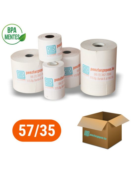 Pénztárgépszalag 57/35/12 Thermo 48g/m2 BPA mentes - 100db/doboz (BANKKÁRTYA TERMINÁLOKBA VALÓ MÉRET)