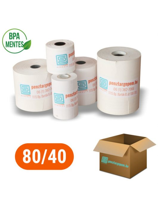 Pénztárgépszalag 80/40/12 (17m) Thermo 48g/m2 BPA mentes - 100db/doboz