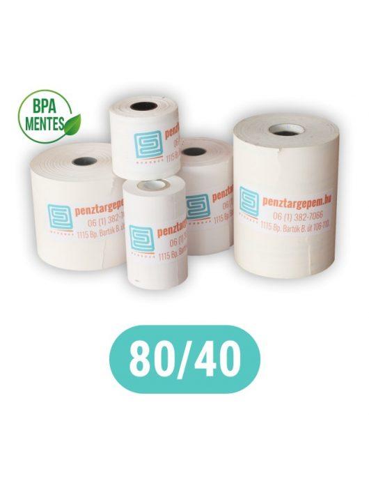 Pénztárgépszalag 80/40/12 Thermo 48g/m2 BPA mentes