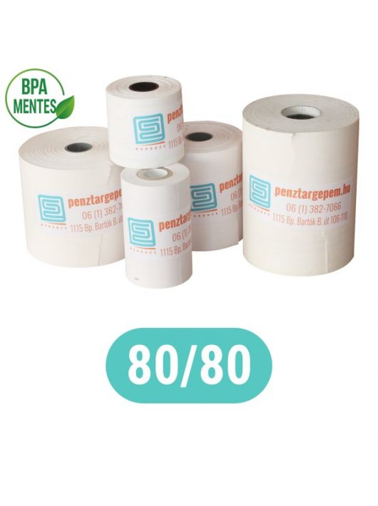 Pénztárgépszalag 80/80/12 Thermo 48g/m2 BPA mentes, 75m hosszú (blokk nyomtató, SMART KASSA stb.)