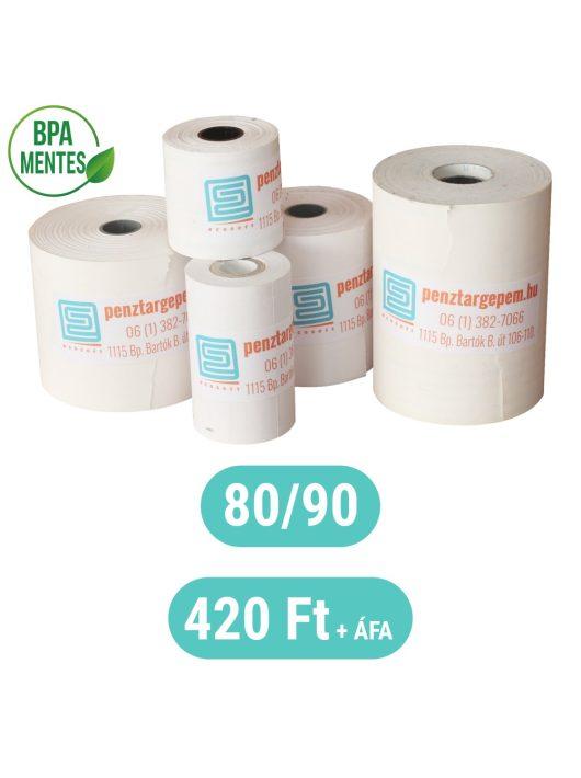 Pénztárgépszalag 80/90m/12 Thermo 48g/m2 BPA mentes, 90m hosszú, LEGGAZDASÁGOSABB